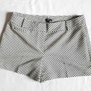LOFT White & Black Embroidered Shorts